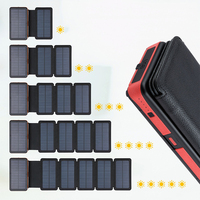 Outdoor Folding Foldable Waterproof Solar Panel Charger Portable Qi Wireless Charger LED Solar Power Bank 20000mAh for Phones