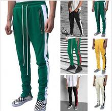 Spring Summer Men Sweatpants Boys Striped Patchwork Casual Pants Male Zipper Side Striped Trousers Men Fitness Pants 2019 New