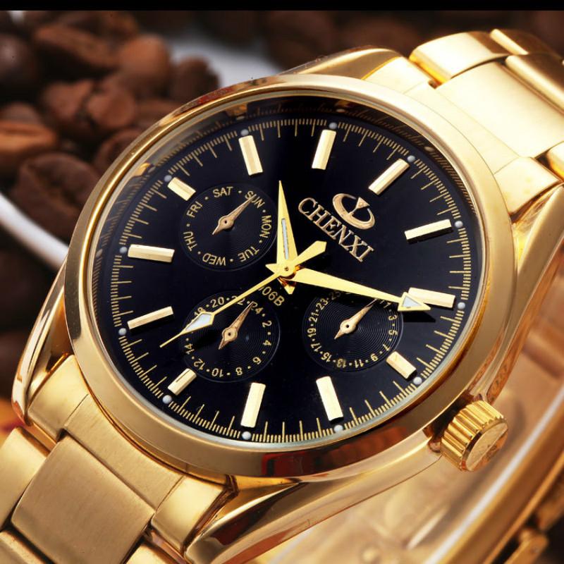 Prix pour Nouveau chenxi marque mens or montre de mode de luxe homme montre-bracelet mâle Horloge D'or IPG Acier Inoxydable Quartz Montres Cadeau Pour hommes