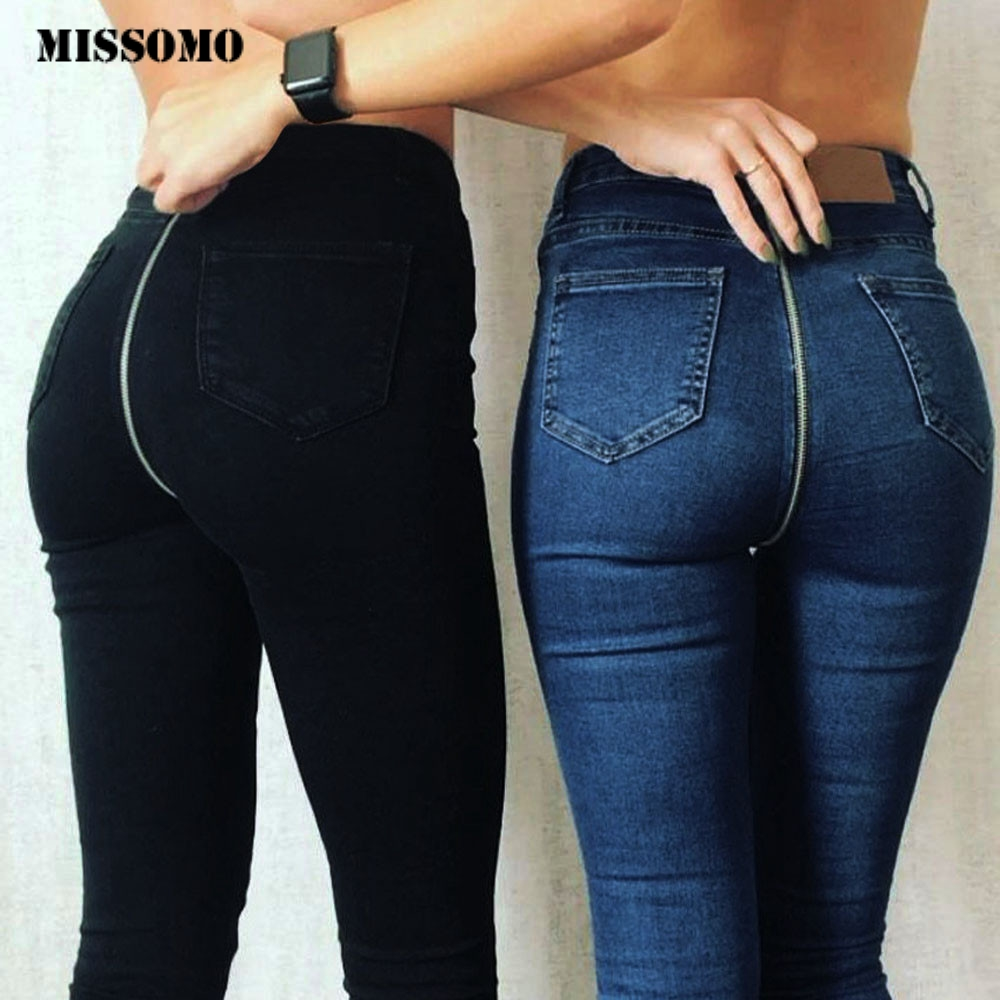 MISSOMO Black Ripped Jeans Woman 2019 New Sexy Back Zipper Denim Pants Skinny Pencil Pants Stretch Trousers Jeans