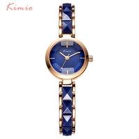 KIMIO Марка Для женщин часы Женские Имитация Керамика золото Повседневное Часы Montre Femme Для женщин наручные Часы синий Relojes Mujer Montre