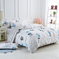 A:Hot Air Balloon B:Black And White Stripes Sided Printed Bedding Sets Super King Size Bed Sheet Duvet Cover Set Pillowcases