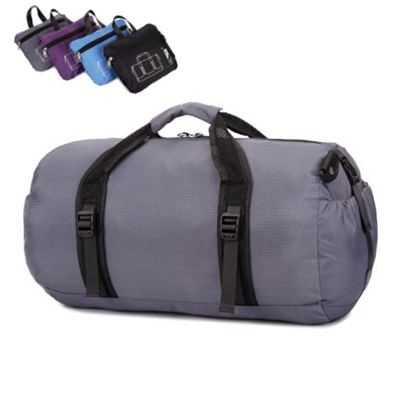 ZYJ Men Women Foldable Fitness Travel Duffel Bags Light Weight Waterproof Sport Folding Crossbody Shoulder Tote Bag
