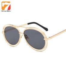 Aleación Flecha Gafas de Sol Hombres Mujeres Diseñador de la Marca de Gran Tamaño Gafas de Sol Para Hombre Espejo Shades Gafas De Sol Feminino