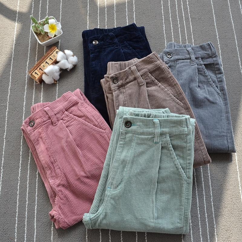 fashion Woman Corduroy pants Elastic waist harem pants Korean casual loose velvet pants literary students corduroy beam trousers