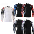 Men's Compression Shirts Skin Tights Male Quick-Dry Compression Base Layer 3D Printing Stretch BodyBuilding Skin Tight Shirt