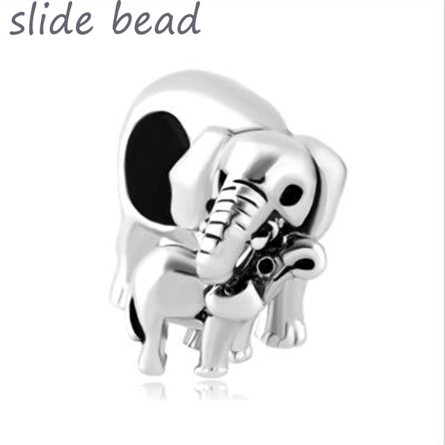 Fit Pandora Charm Bracelets Silver Elephant Mom Love Baby Child