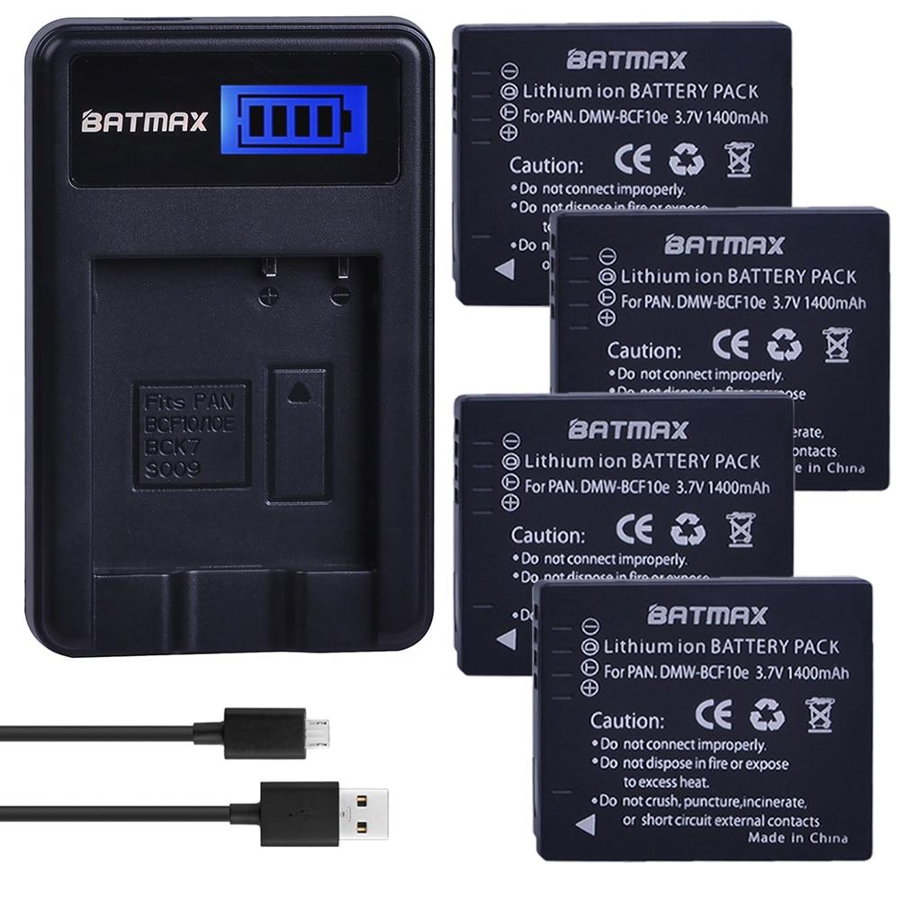 4Pcs Batteries + LCD SUB Charger for Panasonic Lumix DMW-BCF10, DMW-BCF10E, DMW-BCF10PP, CGA-S/106B, DMC-F2, DMC-F3, DMC-FH1 1 5ah cga s005e dmw bcc12 db 60 db 65 bp dc4 np70 battery for panasonic lumix dmc fx180 dmc lx1 dmc lx2 lx3 fs1 fs2 fx01 fx07