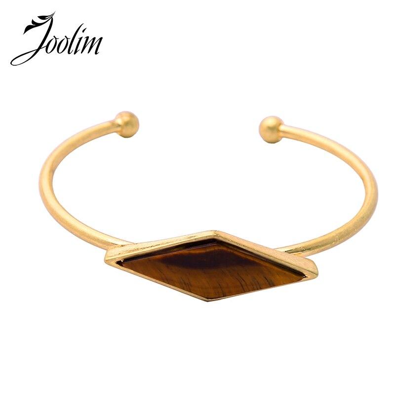 JOOLIM Jewelry Wholesale/ Geometric Shape C Bangle For Women Open Cuff /Jewelry Factory Supply