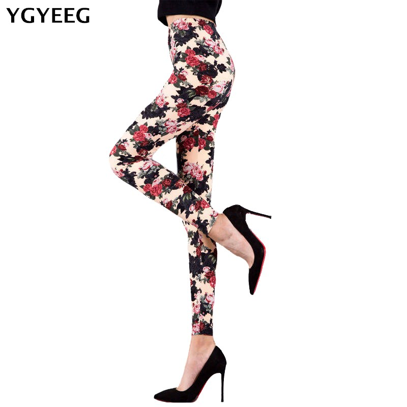 YGYEEG Spring   Leggings   Fashion Women Flowers Printing   Legging   High Waist Woman   Leggings   Summer Stretch High Waist New   Legging
