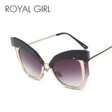 ROYAL FILLE Cat Eye lunettes de Soleil Sans Monture Femmes Marque Designer  Surdimensionné Rose Jaune En Métal Cadre Lunettes de . 40805df2adc4