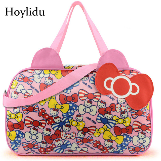 5a0ed4559 Waterproof Oxford Travel Luggage Bag Women Cute Hello Kitty Cat Tote Duffle  Bags For Girls Lady Casual Large Capacity Handbags