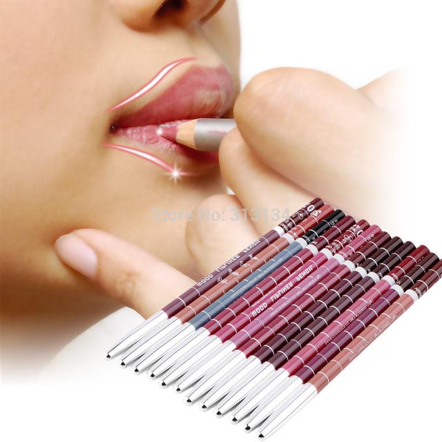 Mezcla de madera profesional lápiz Delineador Resistente Al Agua Delineador de Labios Lápiz 15 CM 12 Colores Por Serie lápiz labial maquillaje herramienta de alta calidad
