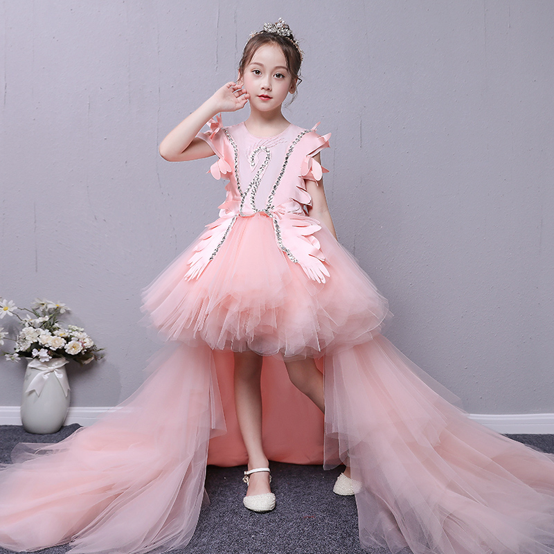 Pink Swan Royal Princess Dress Removable Long Trailing Flower Girl Dresses for Wedding Crystal Ball Gown Holy Communion Dress цена