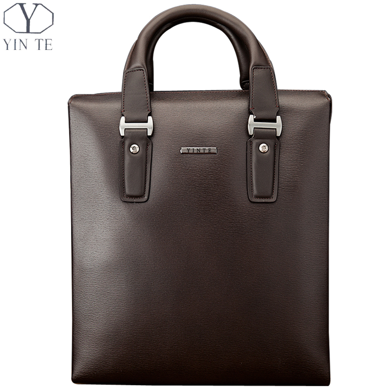 YINTE Classic Men Handbag Leather Business Briefcase Fashion Style And Brown Color Shoulder HandBag Totes Portfolio T8196-4 ebsd image