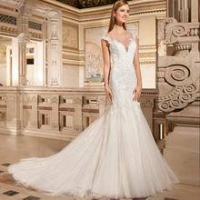 HIRE LNYER Cap Sleeve Mermaid Wedding Dress
