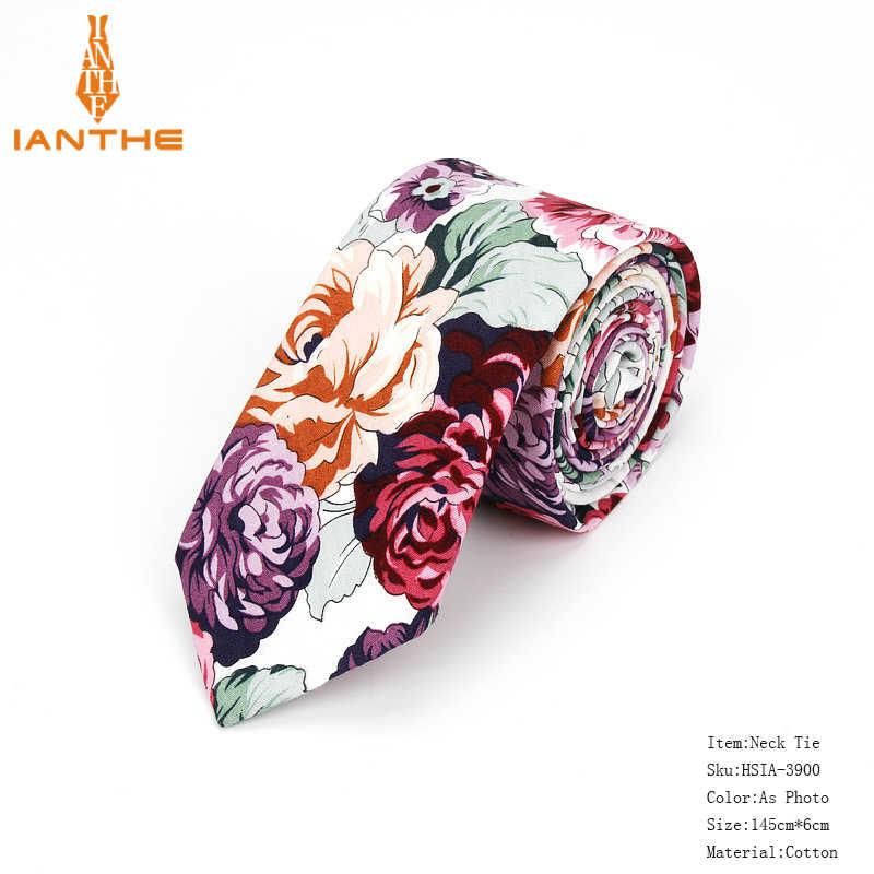 Flambant neuf 100% coton hommes Paisley impression cou cravates pour hommes Cravate étroite mince maigre Cravate étroite fleur cravates Corbatas