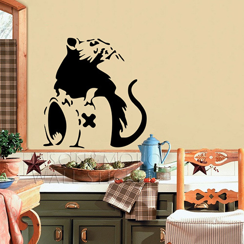 Banksy Style Go Back to Bed Rat Mouse Mice Note Cool Wall Stickers ...