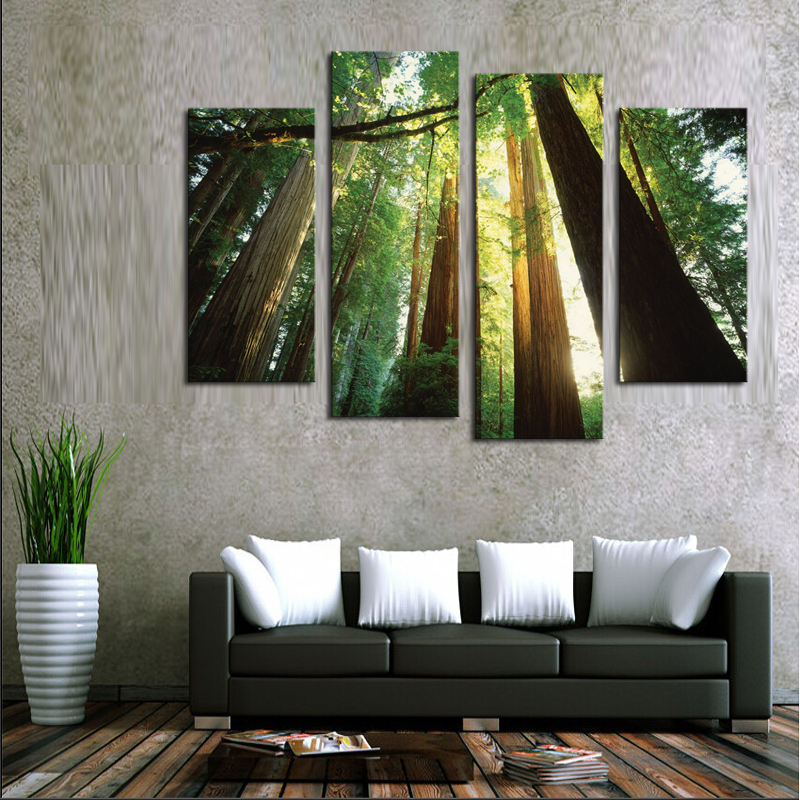 Aliexpress Com Buy 4 Panels Modern Printed Coffee Canvas: Aliexpress.com : Buy Unframed 4 Panels Green Forest