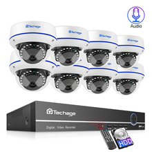 Techage 8CH 2MP 1080P POE Camera NVR Security System Dome Audio Sound Surveillance Set IR Night Vision CCTV Video Kits 4TB HDD 8channels hikvision poe nvr video surveillance kits with 4mp ip camera network security night vision cctv security system kits