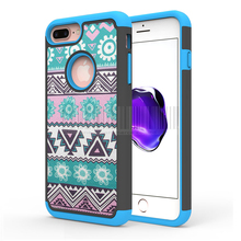 Dual Layer Tribal Totem Print Fundas Silicone TPU Cases Armor Hybrid Shockproof Cover For Apple iPhone 7/7 Plus With Films