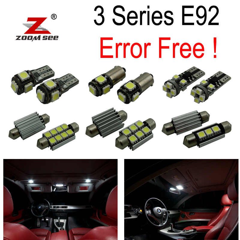 19pc canbus no error Interior LED dome light Kit package for (2006-2012) BMW E92 328i 328xi 335i 335is 335xi M3 coupe ONLY 14pc x error free f30 led interior light kit for bmw new 3series f30 320i 328i 328d 335i 2012