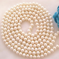 Natural 8 9mm Akoya Freshawater Cultured White Pearl Necklace Sweater Long Chain High Grade New Fashion