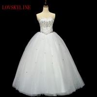 2014 Tube Top Bandage Floor Length Wedding Dress Rhinestone Customize Plus Size