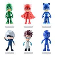 3-6 pcs/ensemble pj oyuncak masques anime figurines pjmask enfants jouets pour enfants garçons pyjamasque modèle
