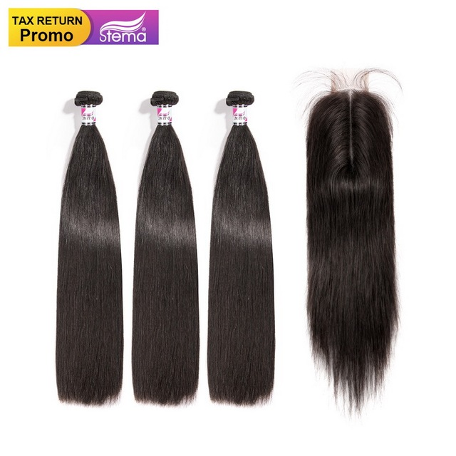 Stema Straight Hair 3 Bundes And 2x6 Lace Closure With Baby Hair Brazilian Remy Human Hair Bundles With Closure Natural Color