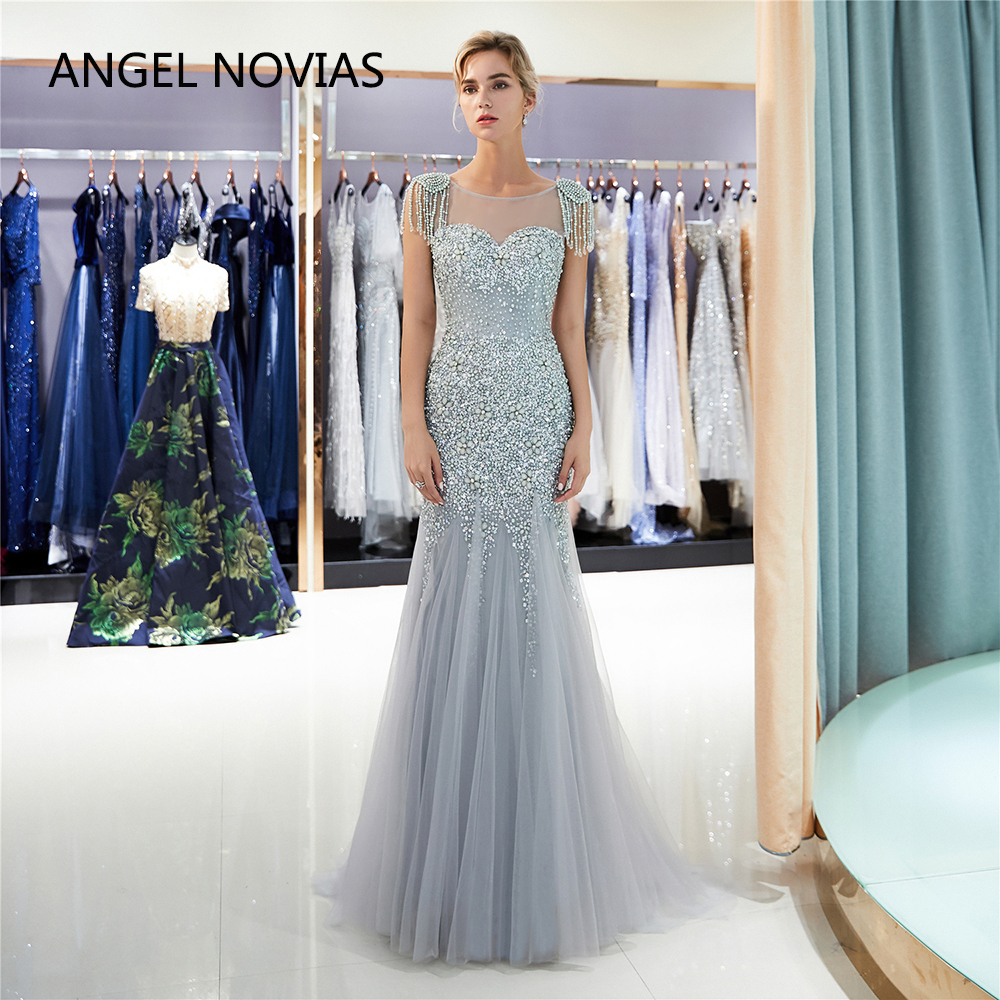 db2c97cf5e Detail Feedback Questions about ANGEL NOVIAS Long Elegant Mermaid Silver  Abendkleider Robe De Noel Evening Dresses 2018 Avondjurken robe de soiree  longue ...
