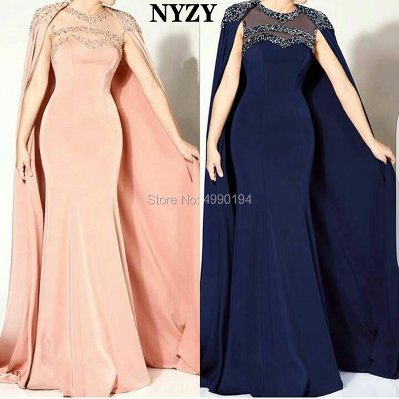 Elegant Arabic Mother Of The Bride Dresses Cape Sleeve 2019 NYZY M186 Pink Navy Jersey Formal Dress Mermaid Robe Soiree Dubai