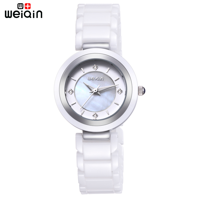 WEIQIN Original Rhinestone Watch The Women 100% Ceramic ...