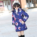 2016 Brand Girls Down Jackets Long Thick Children Print Flower Coat Kid School Fur Collar Thick Keep Warm Christmas Outerwear