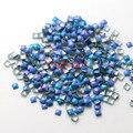 1000 3 MM praça fluorescente azul AB cor strass Nail Art decoração Metallic Studs unhas gota