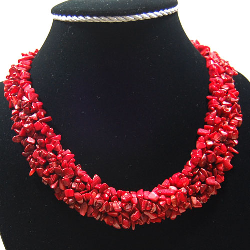 Free Shipping Women Fashion Jewelry 4x8mm Natural Red Sea Coral Chip Beads Nylon Line Weave Necklace 18