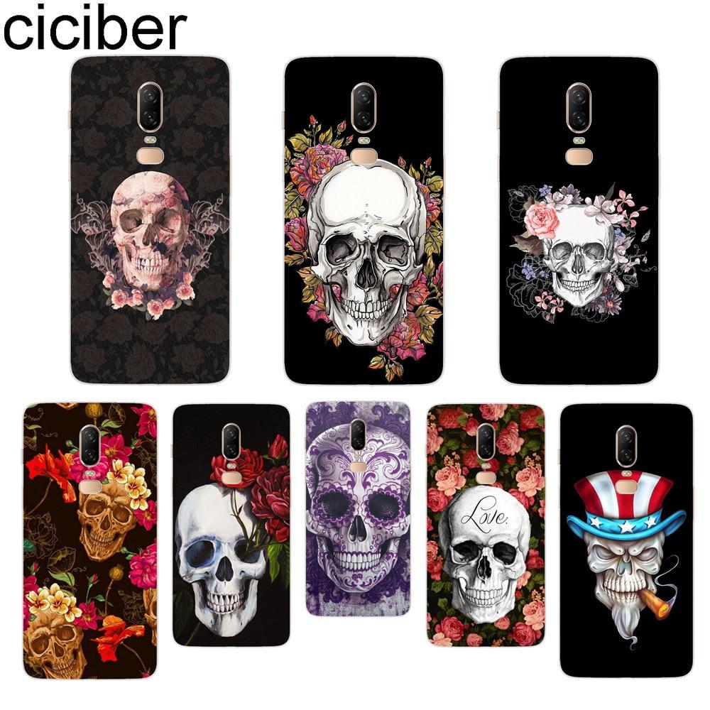 ciciber Flower Skull Phone Case For font b Oneplus b font font b 7 b font