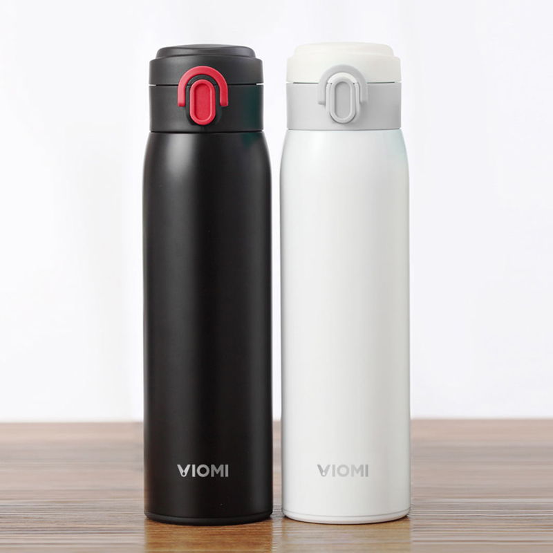 цена на Original Xiaomi mi Mijia VIOMI Stainless Steel Vacuum 24 Hours Flask Water Smart Bottle Thermos Single Hand ON