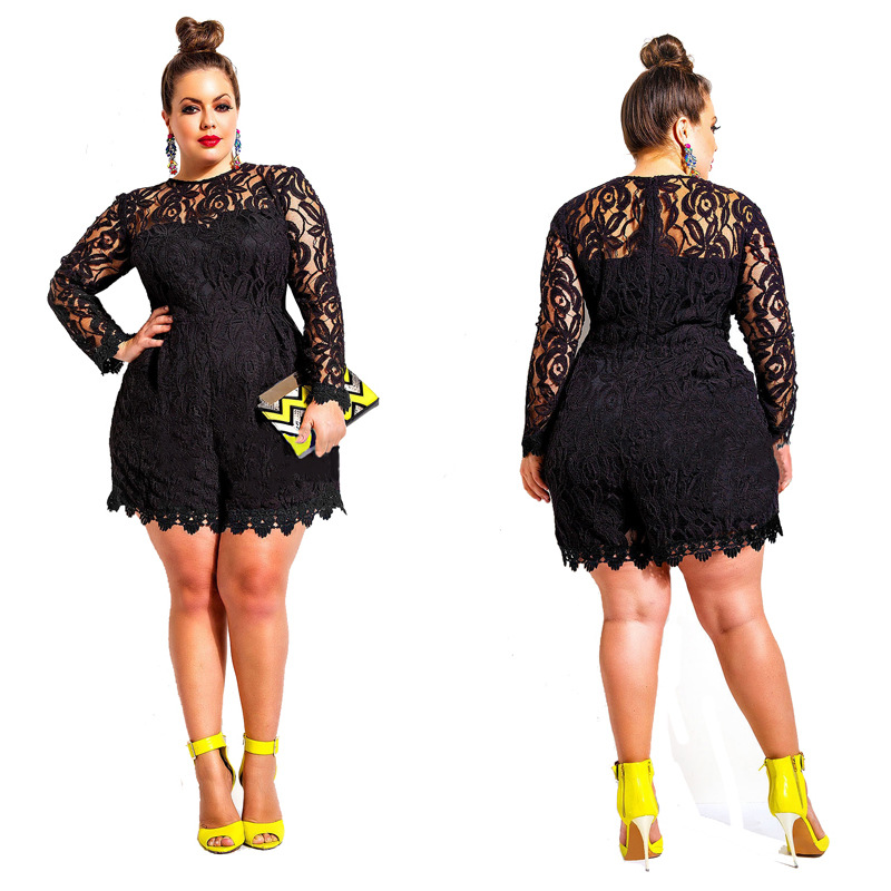 d510c8993a6 Solid Color Hollow Out Long Sleeve Lace Rompers Plus Size Jumpsuit ...
