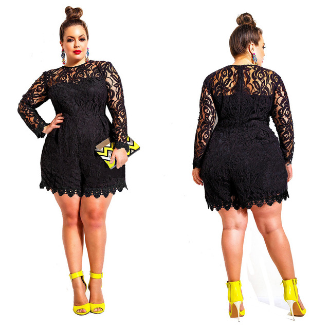 d29f693a938 Solid Color Hollow Out Long Sleeve Lace Rompers Plus Size Jumpsuit XXL XXXL  XXXXL Clubwear Sexy