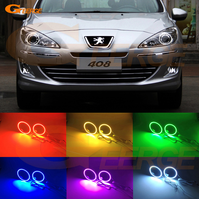 For Peugeot 408 2010 2011 2012 2013 projector headlight Excellent Multi-Color Ultra bright RGB LED Angel Eyes kit