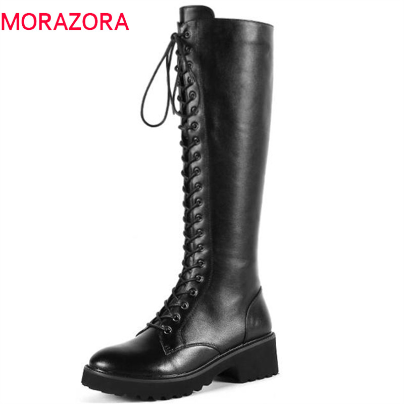 MORAZORA 2018 genuine leather boots for women round toe zipper lace up autumn winter boots comfortable knee high boots female