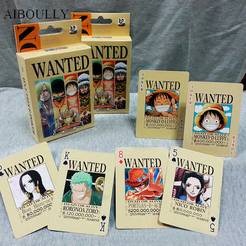 54Pcs/set One Piece Figures Collection Monkey D. Luffy Poker Card & Roronoa Zoro Playing Cards Color Box Packing Kid Gift Toy