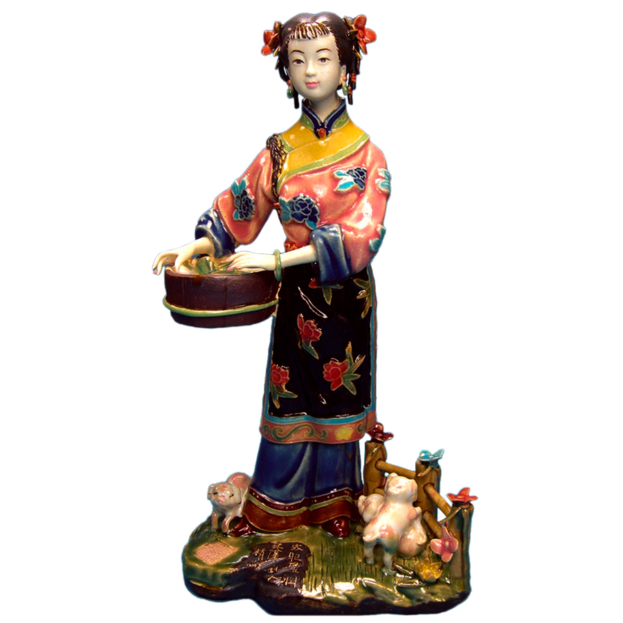Painted Sculpture Art Glazed Pottery Statue Chinese Beauty Porcelain Figure Figurine Collectibles Craft for Home Decor