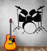 Мода музыка винил на стены трещотки-drums музыкальные инструменты рок-н-ролл поп-воздушными стены настенной росписи музыка украшения дома