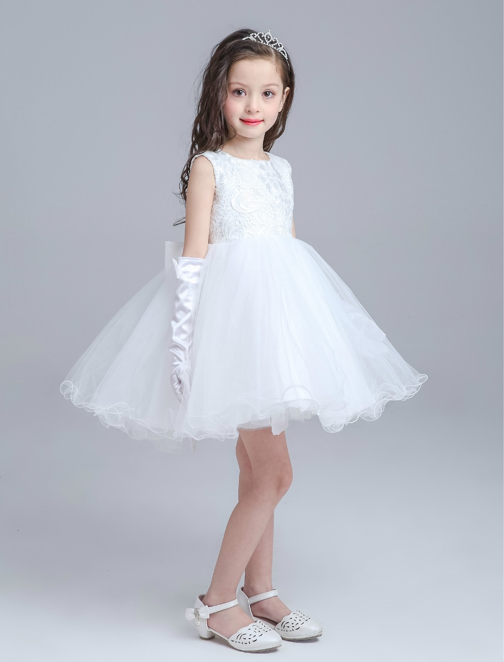 White Girl Birthday Wedding Party Formal Flower Girls Dresses Little ...