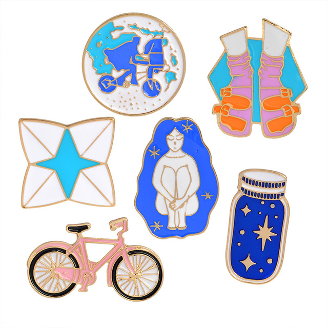 Metal Enamel Pins Cartoon Pink Blue White Bike Wishing Bottle Riding Girl Shoes Origami Game