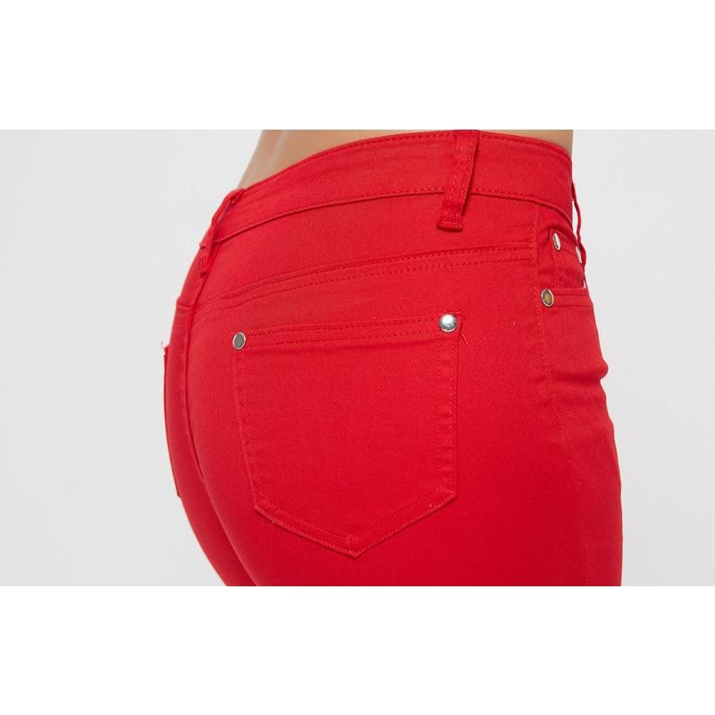 2017 Autumn Women Pencil Jeans Candy Colored Mid Waist Full Length Zipper Slim Fit Skinny Women Pants Hot Fashion Female Jeans Jeans Women Bottom ! Plus Size Women's Clothing & Accessories