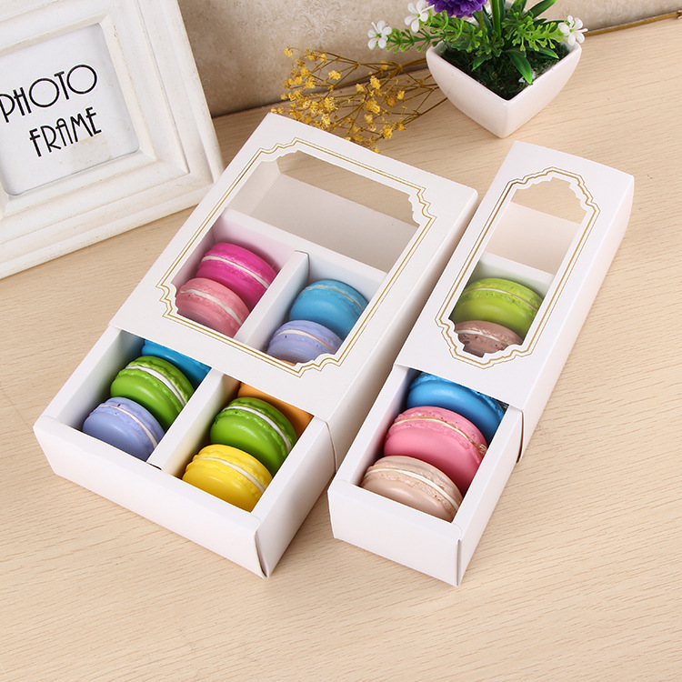 White Macaron Box With Transparent Window Dessert Macarons Pastry Packaging Boxes In 2 Sizes