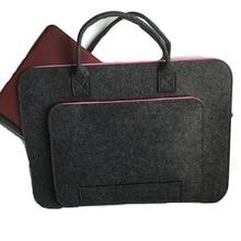 Black Color Wool Felt Laptop Bag 11 12 13 14 15.6 17 Inch Case Cover For Women Handlebag Briefcase Macbook Air
